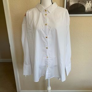 Miss Lili long sleeve embroidered button down top